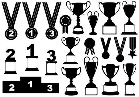 Trophies and medals set isolated on white Vectores