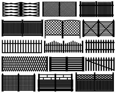Fence set isolated on white Vector