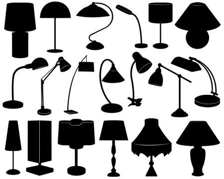 lamp silhouette: Lamp set isolated on white Illustration