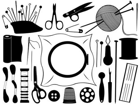 gobelin tapestry: Gobelin equipment set isolated on white Illustration