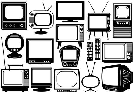 tv icon: Tv set collage isolated on white
