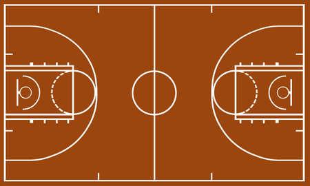 cancha de basquetbol: Baloncesto campo de color marr�n en el fondo