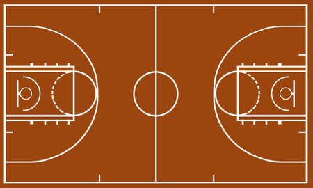 Basketball field with brown in background Stock Illustratie
