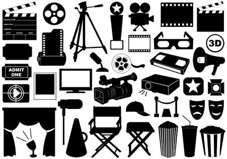 Movie related elements isolated on white Stock Illustratie
