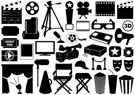 Film gerelateerde elementen op wit wordt geïsoleerd