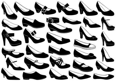 tacones negros: Zapatos conjunto ilustración aislado en blanco