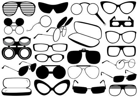 health collage: Different eyeglasses isolated on white