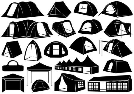 Set of tents isolated on white Vector
