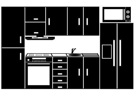 lavabo: Muebles de cocina aislado en blanco