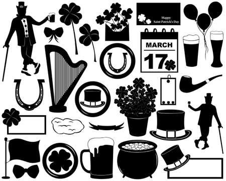 arpa: Elementos Saint Patrick s Day aislado en blanco