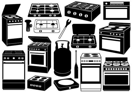 gas lighter: Stove set isolated on white Illustration