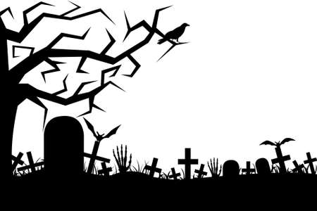 Cemetery isolated on white Vector