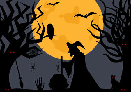 moon  owl  silhouette: Illustration of a witch with moon in background