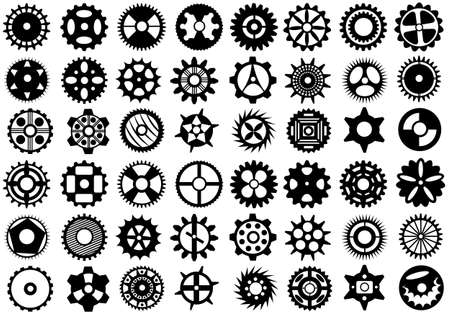 spinning wheel: Gears set isolated on white