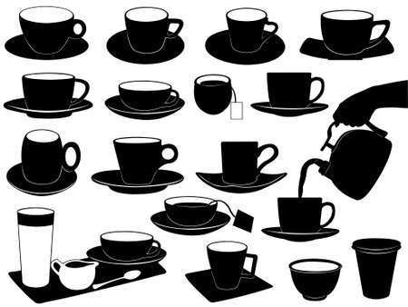 Cups set isolated on white Vector