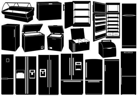 icebox: Set of different refrigerators