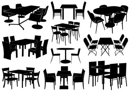 table set: Illustration of tables and chairs
