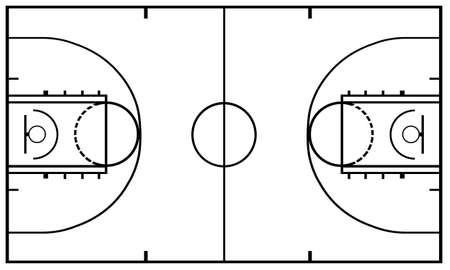 terrain de basket: Terrain de basket isol� sur blanc