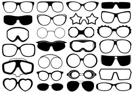 ski goggles: Different eyeglasses isolated on white