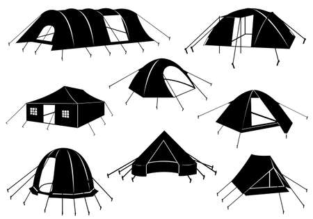 stake: Set of tents isolated on white