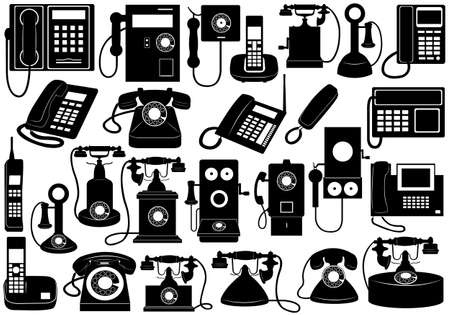 old phone: Phone set isolated on white Illustration