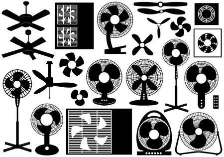 planos electricos: Conjunto de ventilador diferentes aislados en blanco Vectores