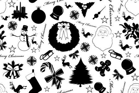 Seamless Christmas isolated on white Vector