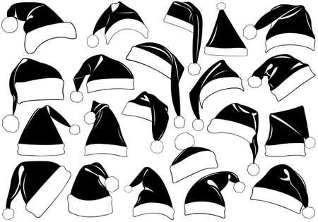 santa hat: Set of Christmas hats isolated on white