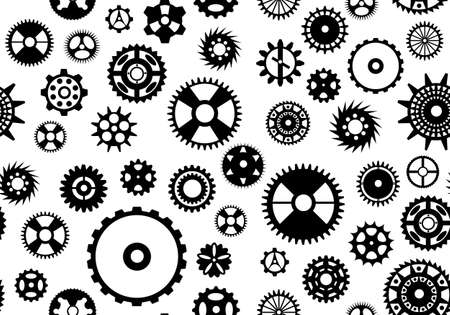 Seamless gear background isolated on white Vector