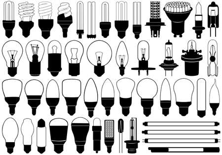 fluorescent tube: Light bulbs set isolated on white