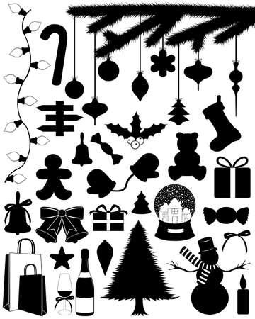 Christmas set isolated on white Stock Illustratie