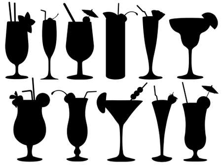 cocktail straw: Set of cocktail glasses isolated on white