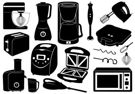 Set of kitchen appliances isolated on white Vectores