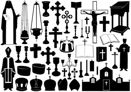 black jesus: Set of religious elements isolated on white