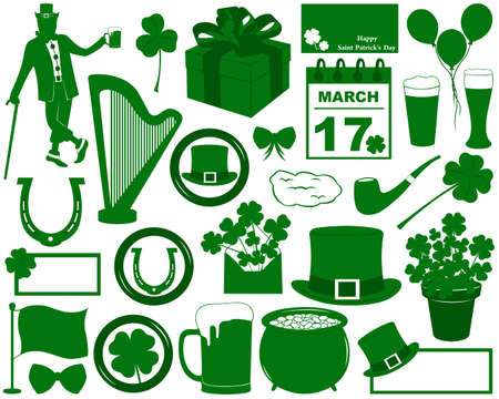 Saint Patrick s Day Elements isolated on white Vector