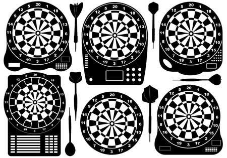 dart on target: Set of electronic dartboards isolated on white Illustration