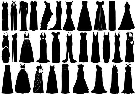 long night: Set of dresses isolated on white