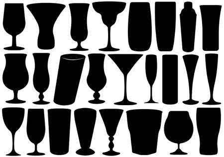 martinis: Set of glasses isolated on white
