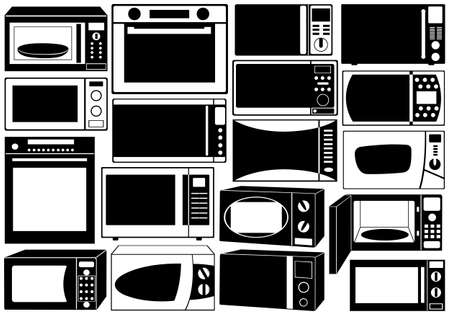 Set of microwave ovens isolated on white Stock Vector - 18439954