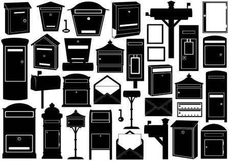 Insieme di diverse caselle di posta isolato su bianco