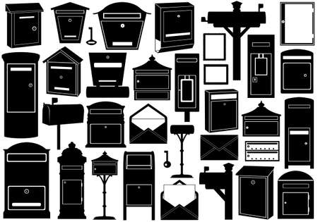 pillar box: Set of different mailboxes isolated on white Illustration