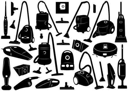 vacuuming: Set di diversi aspirapolveri Vettoriali
