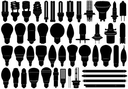 Light bulbs set isolated on white Vector