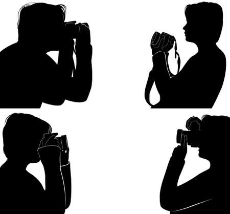 variety: Set of people silhouettes taking pictures
