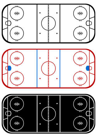 Ice hockey field isolated on white Vector