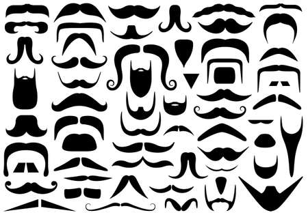 Set of different mustaches isolated on white Vector