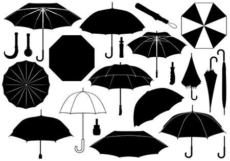 Set of different umbrellas