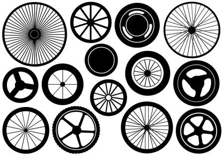 Set of different wheels isolated on white Çizim