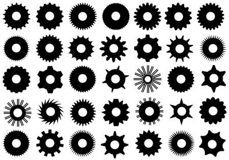 different shapes: Different gear shapes isolated on white