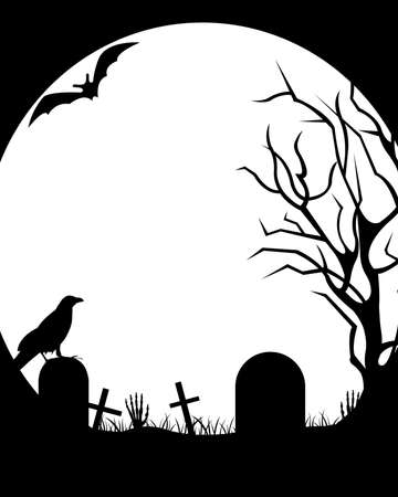 graves: Halloween illustration with moon in background